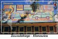 Szczecin. Zawadzkiego - Klonowica, ozdobna mozaika na budynku należącym do Zespoły Szkół Samochodowych przy ulicy Klonowica 14.