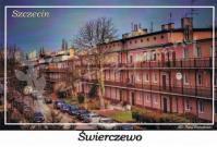 Szczecin. Świerczewo, charakterystyczna zabudowa wzdłuż przylegających do ulicy Ku Słońcu ulic Karola Miarki, Pięknej i Sucharskiego